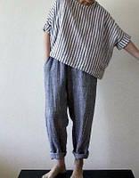 Модно Льняные плотные женские брюки для осени весны шалунишки, чинос, шаровары, стильные casual ., фото 1