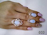 """Серебряный набор с золотыми накладками """"Джамала"""" розовый кварц или лунный камень, фото 1"""