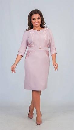 """Элегантное женское с цветочной вышивкой """"Костюмная ткань"""" 48, 50, 56 размер батал, фото 2"""
