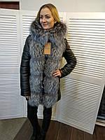 Куртка-Трансформер с мехом натуральной чернобурки, 80см, код LK-00104