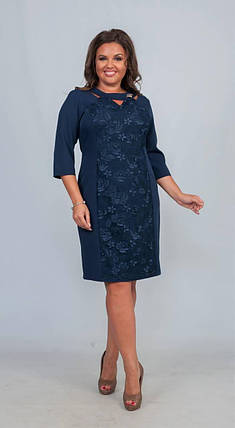 """Элегантное женское с брошью """"Костюмная ткань"""" 50 размер батал, фото 2"""