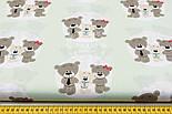 """Ткань хлопковая """"Три медведя в кружочках"""" на светло-мятном фоне, №1546а, фото 2"""