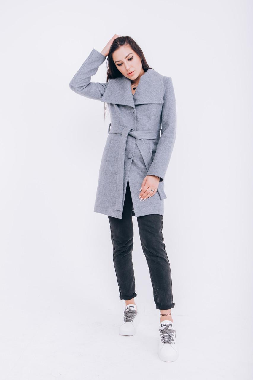 Купить пальто из шерсти серо-голубое Д266