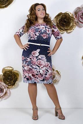 """Красивое женское платье с цветочным принтом ткань """"Трикотаж масло"""" 52 размеры батал, фото 2"""