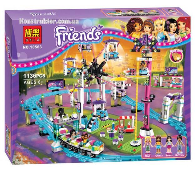 """Конструктор Bela 10563 """"Парк развлечений: американские горки"""" Френдс, 1136 деталей. Аналог LEGO Friends 41130"""