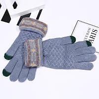 Перчатки теплые голубые женские с сенсорным пальчиком