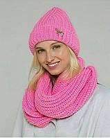Шапка женская вязаная с шарфом флисовая