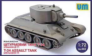Штурмовой танк Т-34 с башней Д-11. Сборная модель танка в масштабе 1/72. UM 442