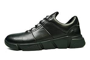 Черные мужские кожаные кроссовки комфорт EGUZA