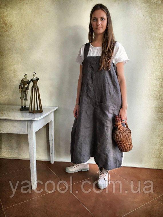 25a9d9e21dbd24c Модный льняной сарафан, лен плотный осень-весна. Кэжуал: продажа ...