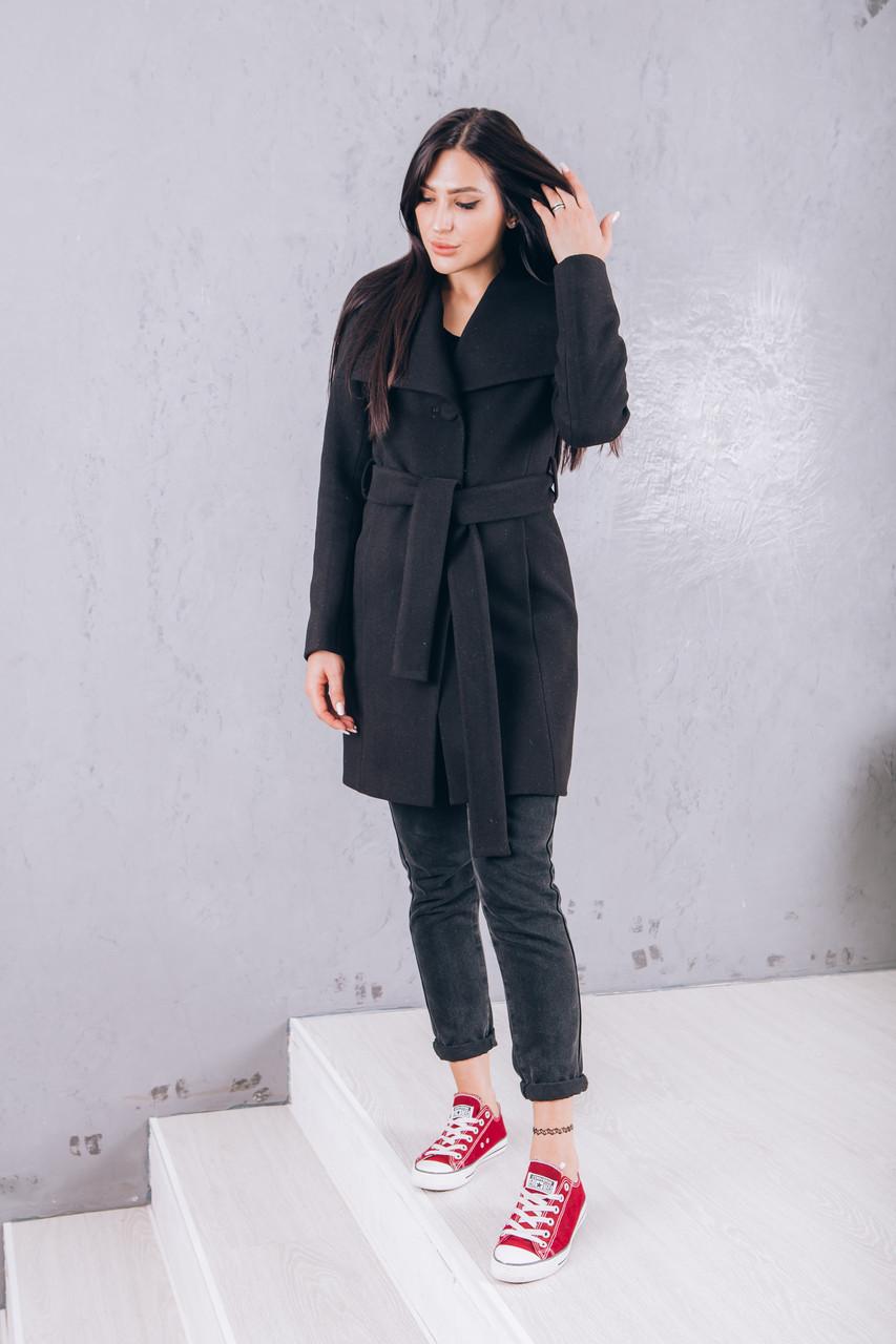 Пальто черное из кашемира Италия Д 266