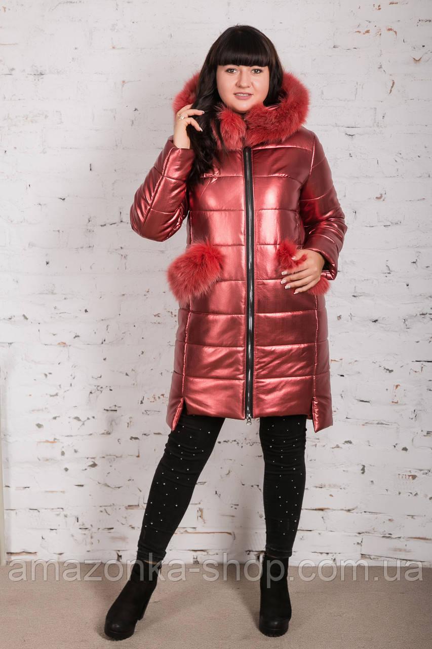 Эксклюзивное женское пальто из эко-кожи зима 2019 - (модель кт-329)