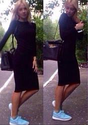 Женское теплое платье черного цвета из ангоры с длинным рукавом по колено Размер универсал AK 0514