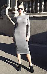 Женское облегающее платье из ангоры с открытыми плечами цвета Размеры S. M AA 568