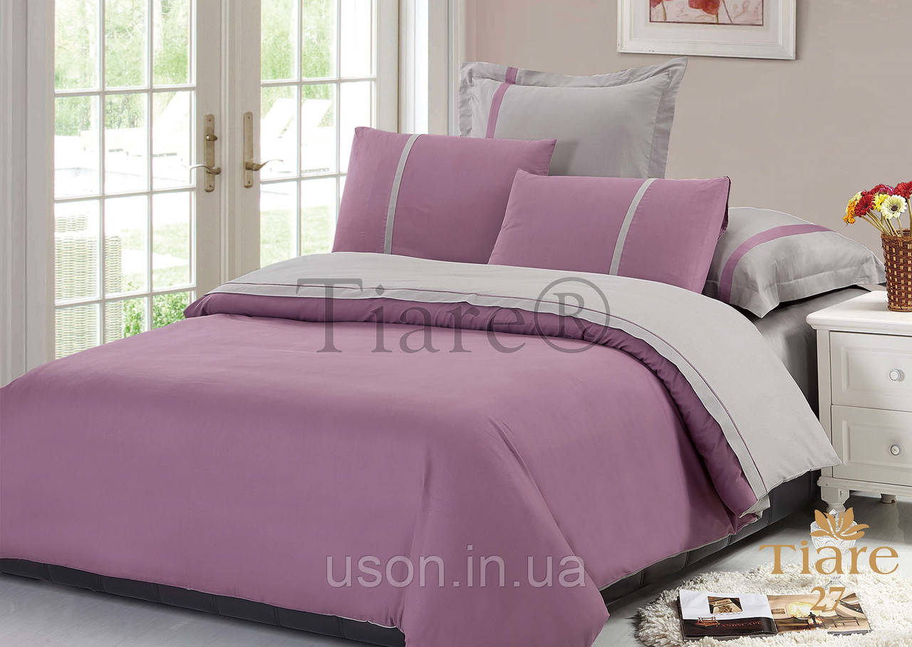 Комплект постельного белья сатин однотонный Тиара  евро 27