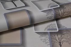 Обои бумажные, бежевые, квадрат, дерево,  Нелми 1372,  0,53*10м
