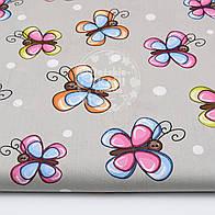 """Ткань хлопковая """"Большие бабочки с белым горохом"""" на сером (№1551а)."""