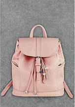 """Рюкзак шкіряний жіночий міський на клапані """"Олсен"""". Колір рожевий"""