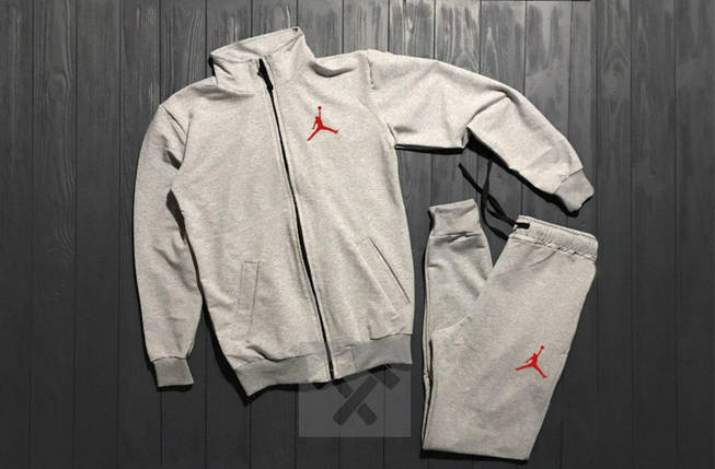 Костюм спортивный на молнии Nike Jordan серый топ реплика, фото 2