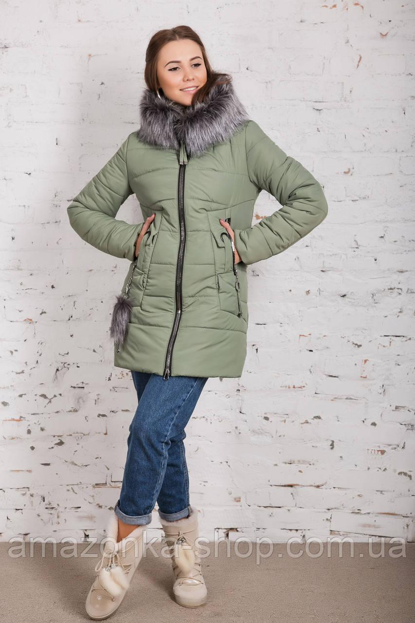 Женская куртка с экомехом на зиму модель 2019 - (модель кт-354)