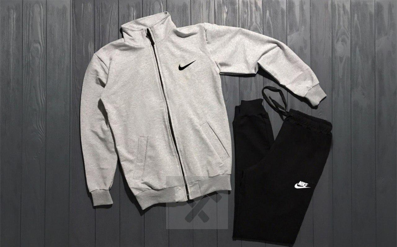 Костюм спортивный на молнии Nike серо-черный топ реплика