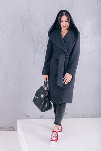 Осеннее кашемировое пальто синее купить Д308