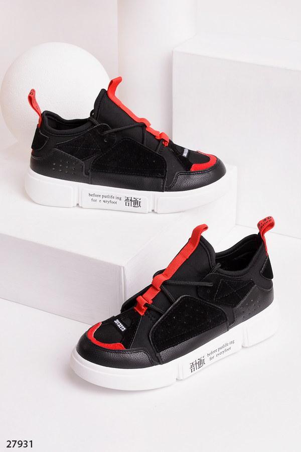 Оригинальные кеды-кроссовки черные с красным эко-кожа+замш