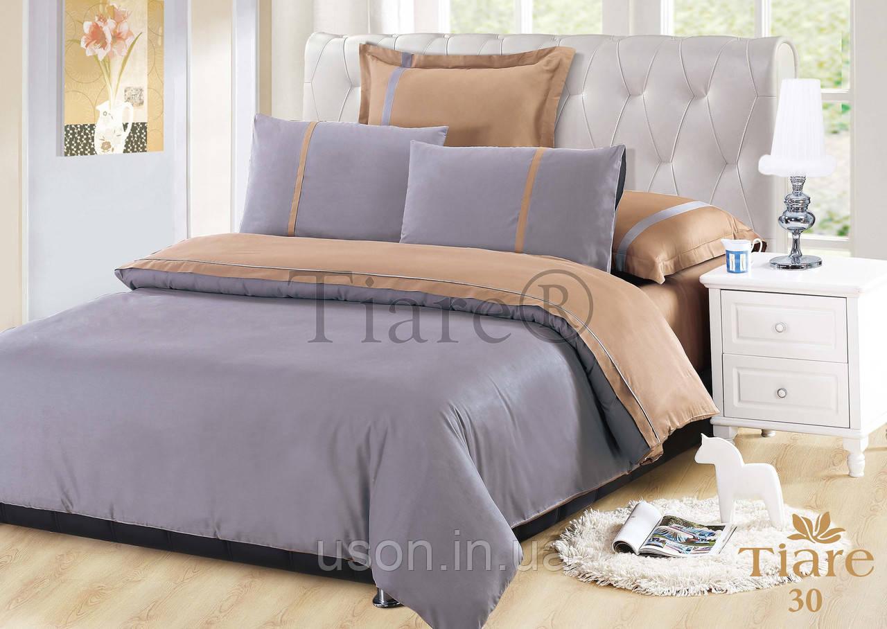 Комплект постельного белья сатин однотонный тиара вилюта евро 30