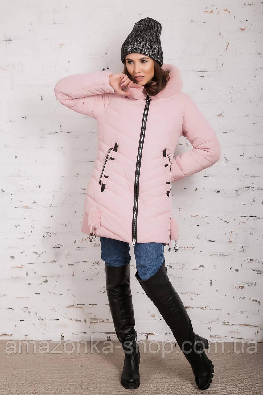 Женская зимняя куртка с экомехом на модель 2019 - (модель кт-359)