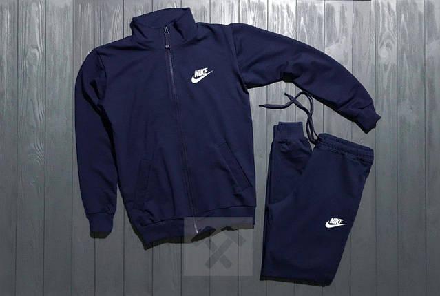 Костюм спортивный на молнии Nike темно-синий топ реплика, фото 2