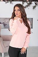 Персиковая Блузка с рубашечным воротником, фото 1
