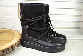 Женские замшевые угги на шнурках черные