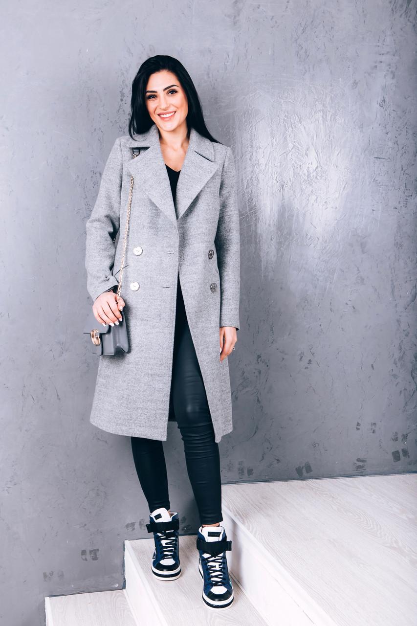 Длинное пальто из светло-серой шерсти Д 258