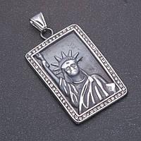 Кулон Статуя свободы серый металл 32х46х57мм
