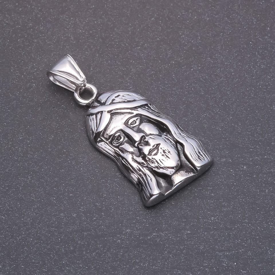 Кулон Лик серый металл 20х37х45мм