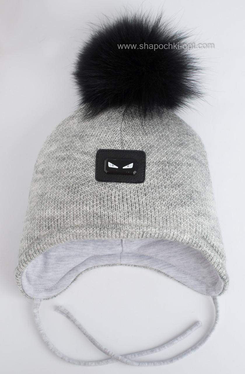 вязаная шапка для мальчиков билли с меховым помпоном серая продажа