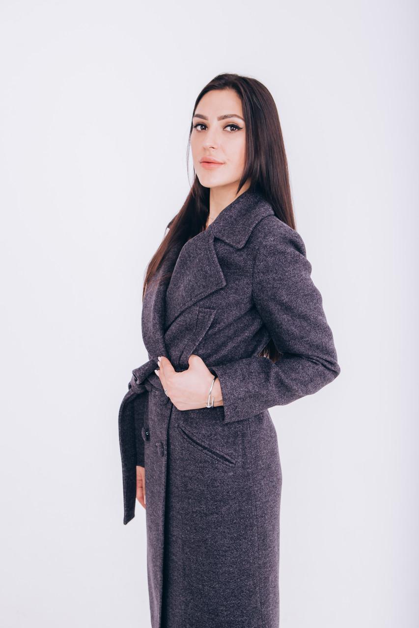 Длинное пальто из шерсти графит Д 258