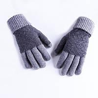 Зимние шерстяные перчатки мужские серые, фото 1