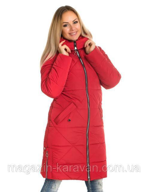 Теплый женский пуховик ЛД 53-1 красный (42-60)