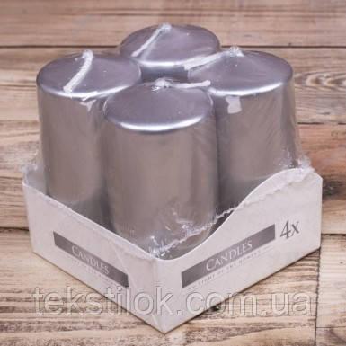 Свічка циліндр BISPOL срібло 7,5 см набір 4 штуки