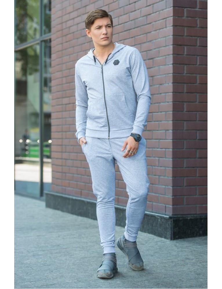 Спортивный костюм 1504 Серый/Синий/Черный