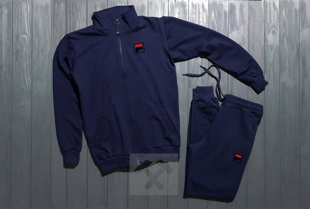 Спортивный костюм на молнии темно-синий Fila топ реплика