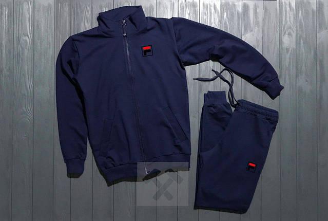Спортивный костюм на молнии темно-синий Fila топ реплика, фото 2