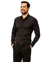 Черная мужская рубашка LC Waikiki / ЛС Вайкики на черных пуговицах с длинными рукавами