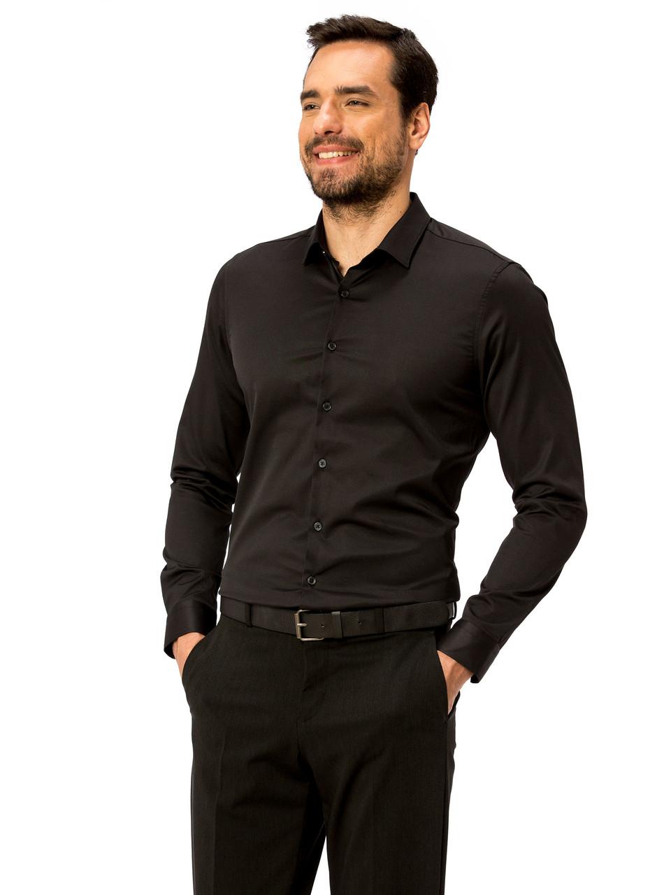 b82f16a9f639553 Черная мужская рубашка LC Waikiki / ЛС Вайкики на черных пуговицах с длинными  рукавами - Наш