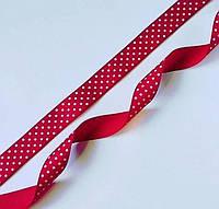 Лента репсовая красная в белый горошек 2.5 см