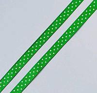 Лента репсовая в белый горошек  10мм, фото 1