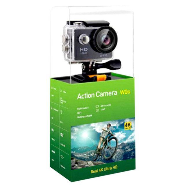 Экшн камера Action camera W9s черная с водонепроницаемым кейсом, Wi-Fi, экраном, креплениями