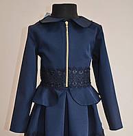 Детский пиджак для девочки темно-синего цвета с кружевом, фото 1