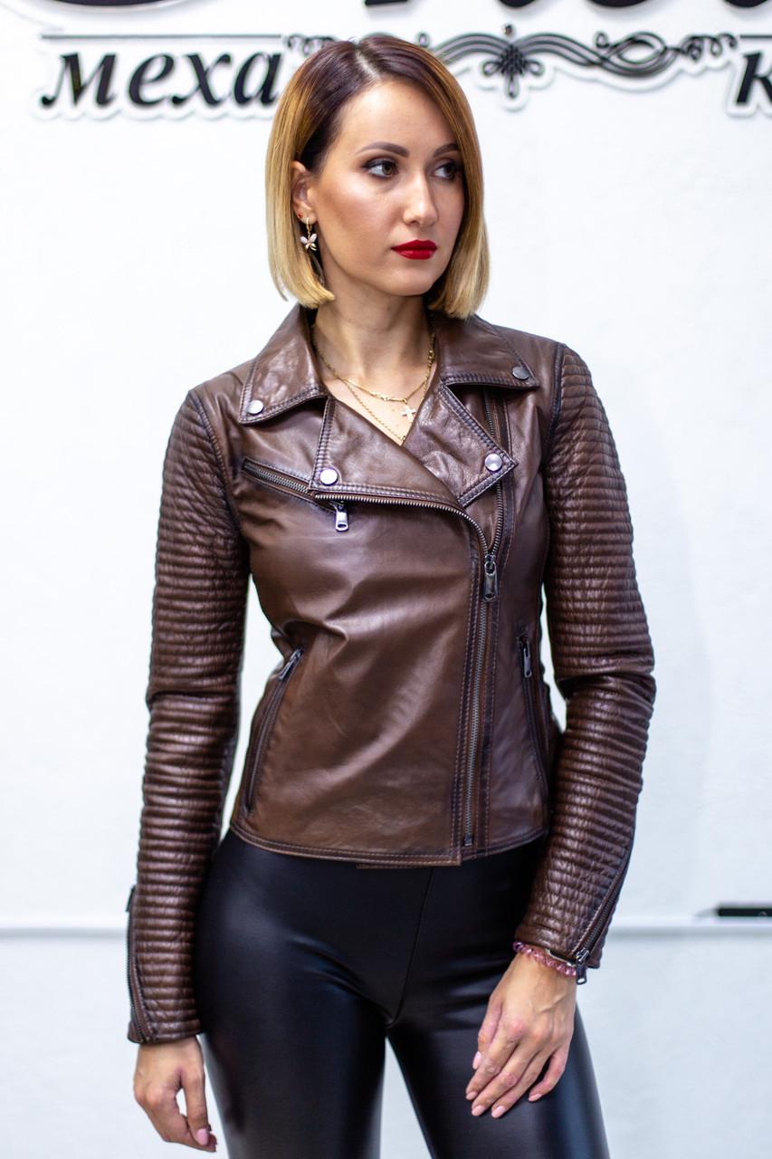 Куртка - Косуха Кожаная Коричневая Женская 0115КЖТ
